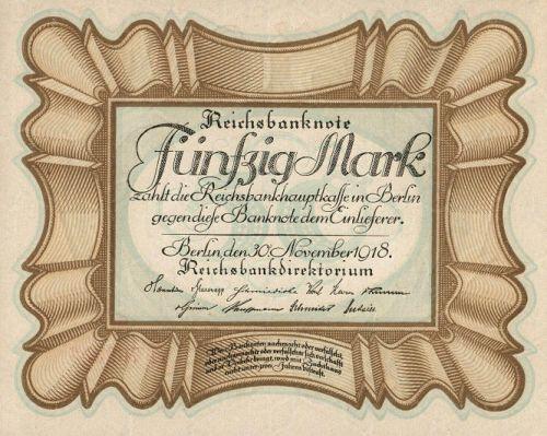 Reichsbanknote 50 Mark 30.11.1918 Vorderseite