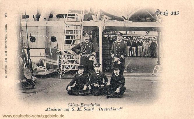 China-Expedition Abschied auf S.M. Schiff Deutschland (Kaiser Wilhelm II. mit seinem Bruder Prinz Heinrich und Söhnen)