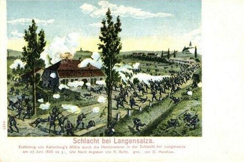 Schlacht bei Langensalza. Erstürmung von Kallenberg's Mühle durch die Hannoveraner am 27. Juni 1866.