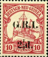 Deutsch-Neu-Guinea 10 Pfennig mit Aufdruck G.R.I.