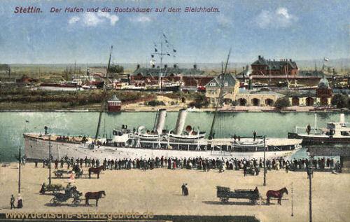 Stettin, Der Hafen und die Bootshäuser auf dem Bleichholm