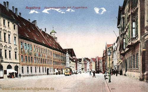 Augsburg, Maximilianstraße mit Fuggerhaus