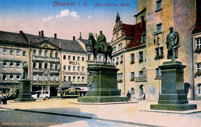 Chemnitz, Denkmäler am Markt (Bismarck-, Kaiser Wilhelm I. und Moltke-Denkmal)