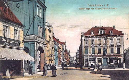 Crimmitschau, Silberstraße mit Kaiser-Wilhelm-Denkmal