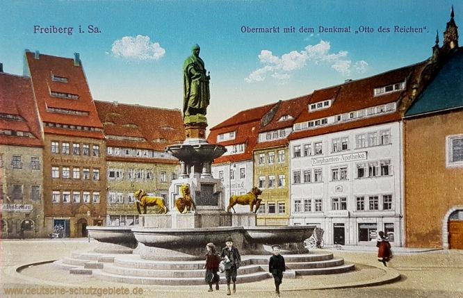 """Freiberg i. Sa., Obermarkt mit dem Denkmal """"Otto des Reichen"""""""