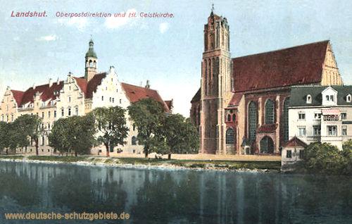 Landshut, Oberpostdirektion und Heiliger Geist Kirche