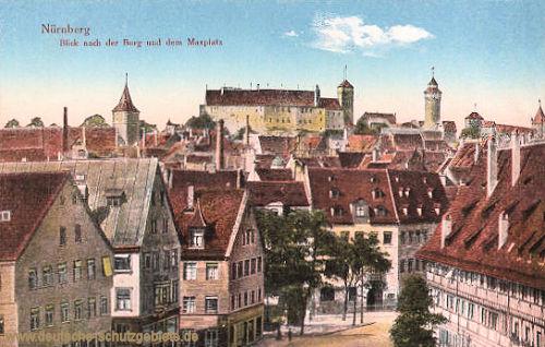 Nürnberg, Blick nach der Burg und dem Maxplatz