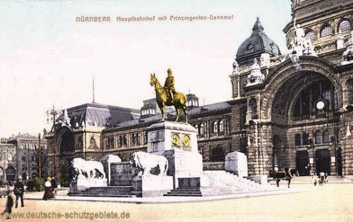 Nürnberg, Hauptbahnhof mit Prinzregenten-Denkmal