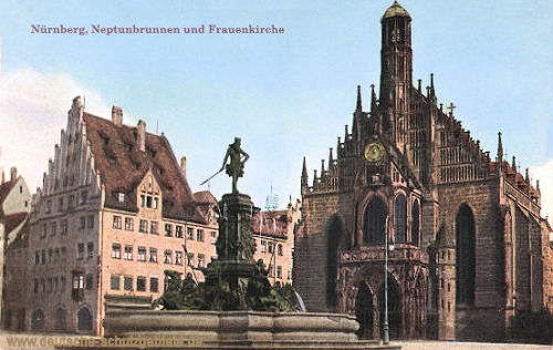 Nürnberg, Neptunbrunnen und Frauenkirche