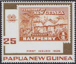 Marke der Territory of New Guinea 1925 Halfpenny