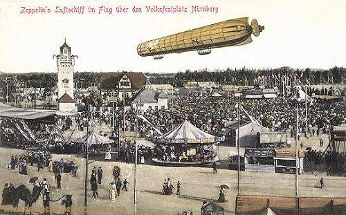 Zeppelins Luftschiff im Flug über den Volksfestplatz Nürnberg