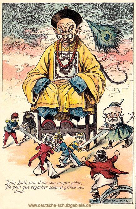 Der Krieg in China: John Bull (Engländer) sitzt durch den Burenkrieg in Südafrika in der Falle und kann nur zuschauen und mit den Zähnen knirschen.