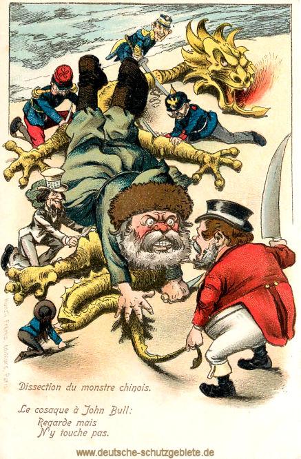 Der Krieg in China: Die Aufteilung des chinesischen Drachens, Kosake (Russe) zu John Bull (Engländer): Nur anschauen, aber nicht anfassen.