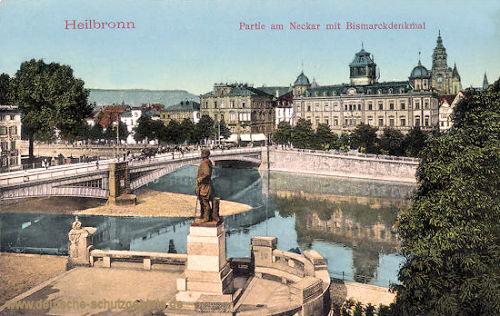 Heilbronn, Partie am Neckar mit Bismarckdenkmal