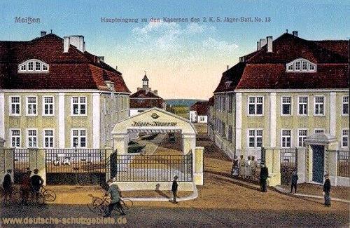 Meißen, Haupteingang zu den Kasernen des 2. K.S. Jäger-Batl. No. 13