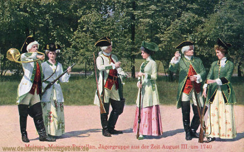 Meißen, Meißner Porzellan, Jägergruppe aus der Zeit August III. um 1740