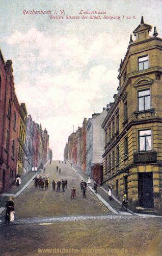 Reichenbach i. V., Liebaustrasse, Steilste Straße der Stadt, Steigung 1 zu 6