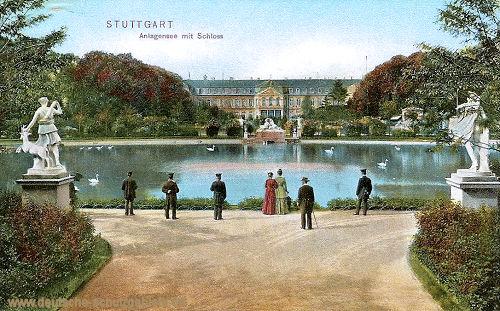 Stuttgart, Anlagensee mit Schloss