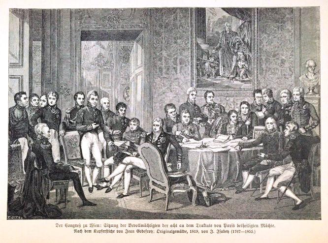 Wiener Kongress: Sitzung der Bevollmächtigten der acht an dem Trakte von Paris beteiligten Mächte.