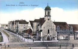Zittau, Sedan-Straße mit Hospitalkirche und Hospitalgut