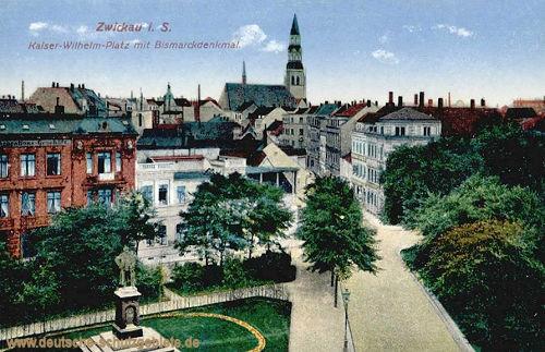 Zwickau i. S., Kaiser-Wilhelm-Platz mit Bismarckdenkmal