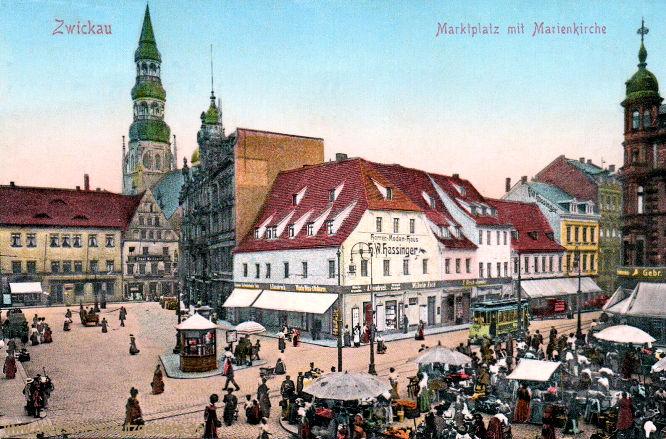 Zwickau i. S., Marktplatz mit Marienkirche