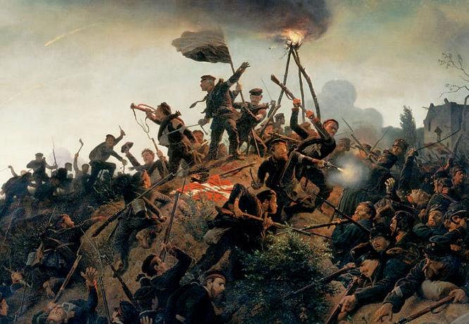 Die Erstürmung der Düppler Schanzen - Gemälde von Wilhelm Camphausen (1818 – 1885)