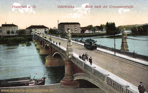 Frankfurt Oder, Oderbrücke, Blick nach der Crossenerstraße