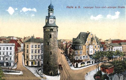 Halle. a. d. S., Leipziger Turm und Leipziger Straße