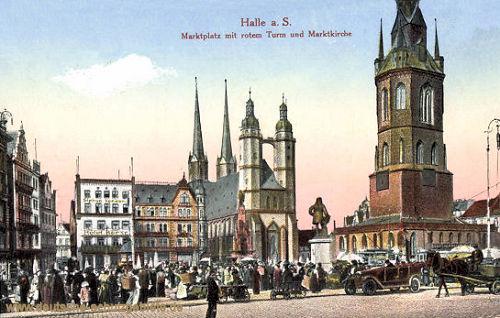 Halle. a. d. S., Marktplatz mit rotem Turm und Marktkirche