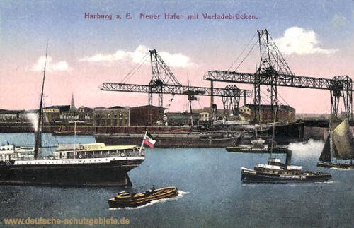 Harburg, Neuer Hafen mit Verladebrücken