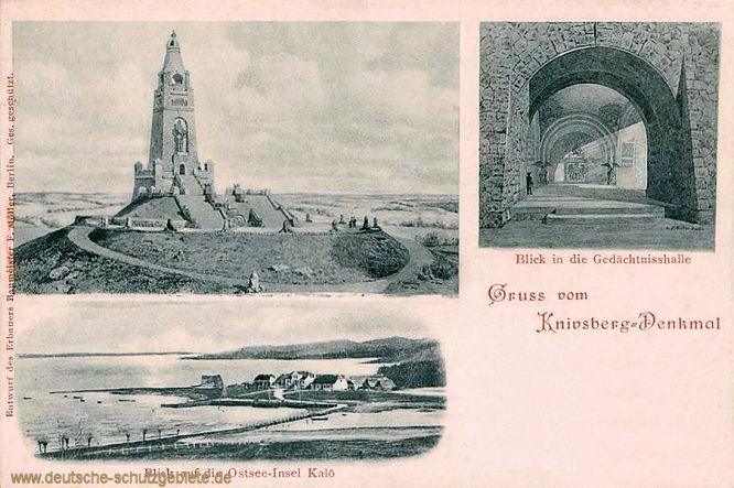 Gruss vom Knivsberg-Denkmal. Blick in die Gedächtnishalle. Blick auf die Ostsee-Insel Kalö.
