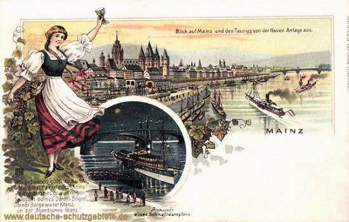 Mainz, Blick auf Mainz und den Taunus von der Neuen Anlage aus