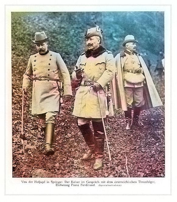 Von der Hofjagd in Springe: Der Kaiser [Wilhelm II.] im Gespräch mit dem österreichischen Thronfolger Erzherzog Franz Ferdinand. (Spezialaufnahme)