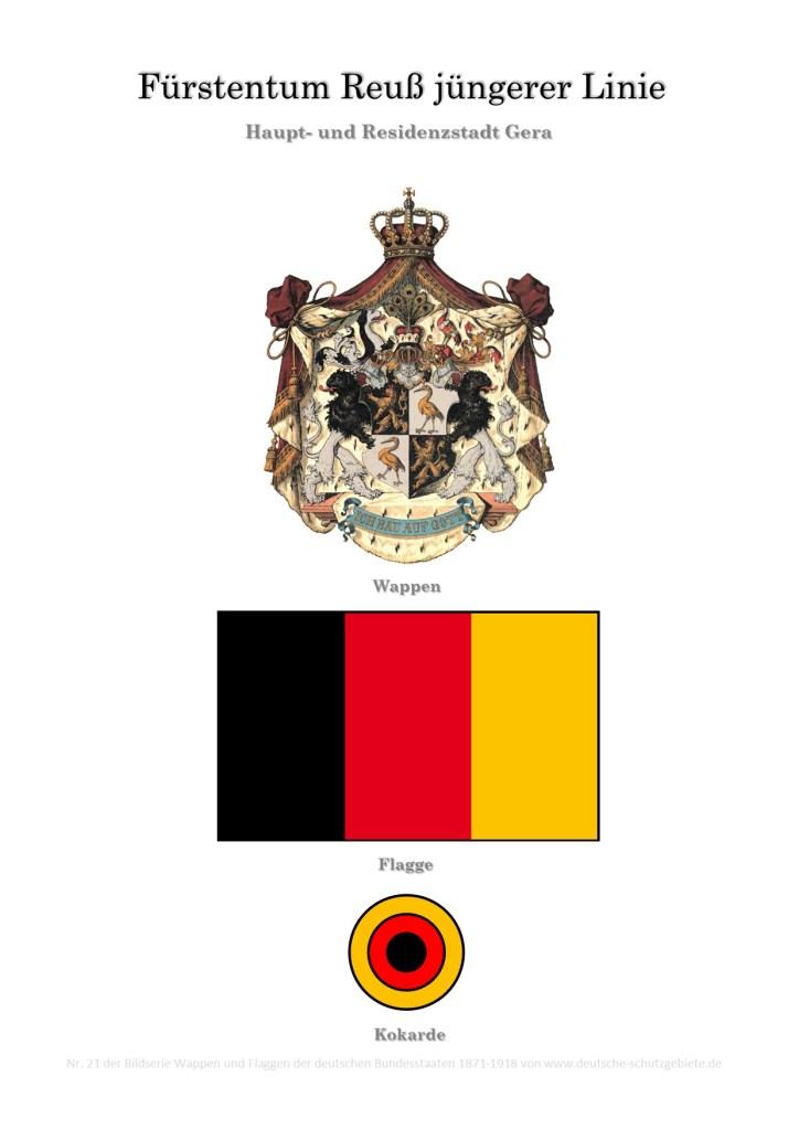 Fürstentum Reuß jüngerer Linie, Wappen, Flagge und Kokarde