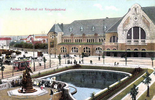 Aachen, Bahnhof mit Kriegerdenkmal