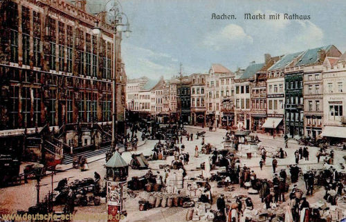 Aachen, Markt mit Rathaus