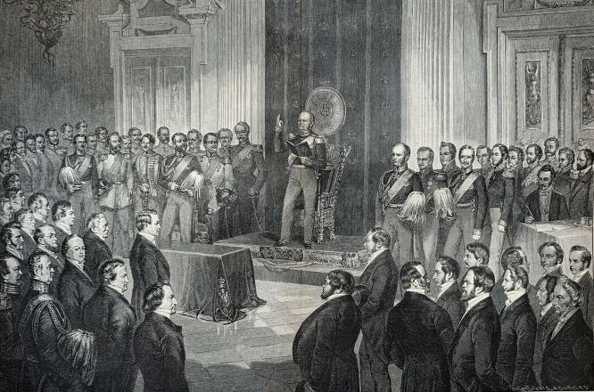 König Friedrich Wilhelm IV. von Preußen schwört auf die Verfassung: 6. Februar 1850