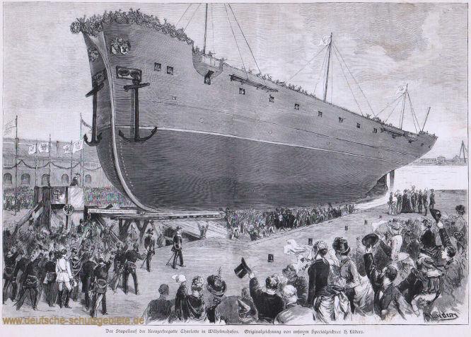 Der Stapellauf der Kreuzerfregatte Charlotte in Wilhelmshaven. Originalzeichnung von unserem Spezialzeichner H. Lüders