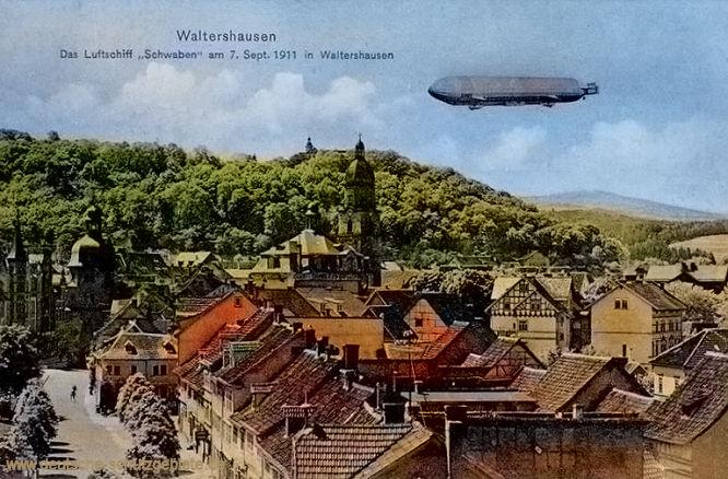 Waltershausen, Das Luftschiff Schwaben am 7. September 1911 in Waltershausen.