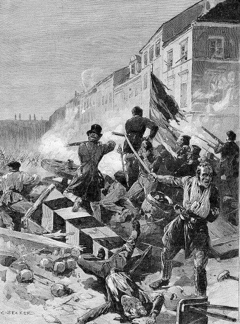 Barrikadenkampf in Berlin am 18. März 1848. Originalzeichnung von G. Becker