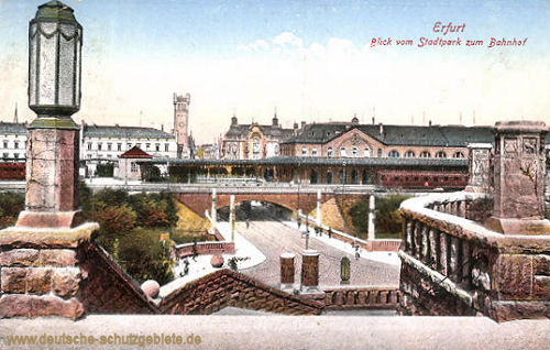 Erfurt, Blick vom Stadtpark zum Bahnhof