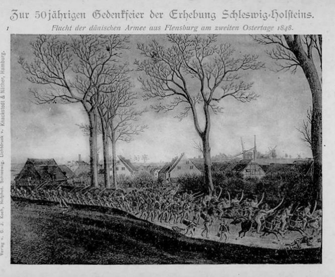 Zur 50jährigen Gedenkfeier der Erhebung Schleswig-Holsteins. Flucht der dänischen Armee aus Flensburg am zweiten Ostertage 1848.