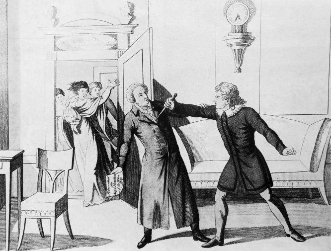 Der Ermordung des Dichters August von Kotzebue durch den Studenten Karl Sand am 23. März 1819.