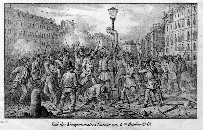 Tod des Kriegsministers Latour am 6. Oktober 1848 in Wien.
