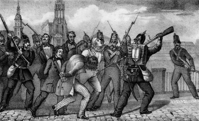 Abführung der Gefangenen über die Elbbrücke zu Dresden am 9. Mai 1849. Lithografie C.G. Lohse