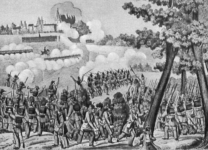 Gefecht bei Waghäusel, nahe Heidelberg am 21. Juni 1849. Das badische Heer stand auf Seite des Volkes. Nach dem Sieg der preußischen Truppen bei Waghäusel wurde die badische Armee aufgelöst.