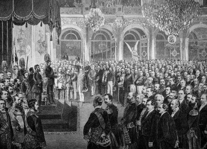 Eröffnung des Reichstages des norddeutschen Bundes am 24. Februar 1867 durch König Wilhelm I. im weißen Saale des königlichen Schlosses zu Berlin. Lithografie von C. Mende