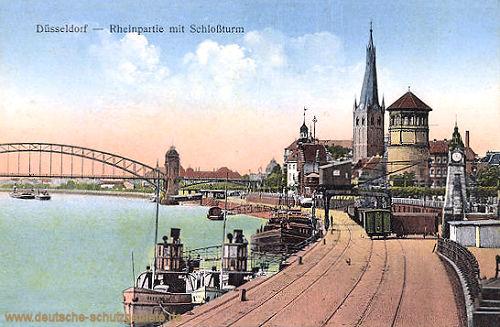 Düsseldorf, Rheinpartie mit Schlossturm