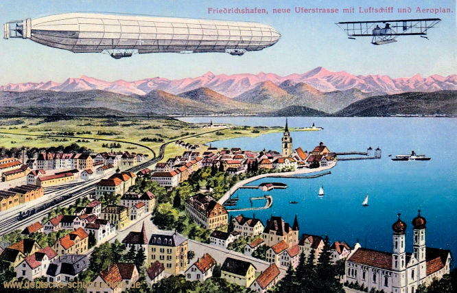 Friedrichshafen, neue Uferstraße mit Luftschiff und Aeroplan